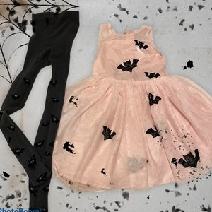 Little Girl's Bat Dress and Matching Tights